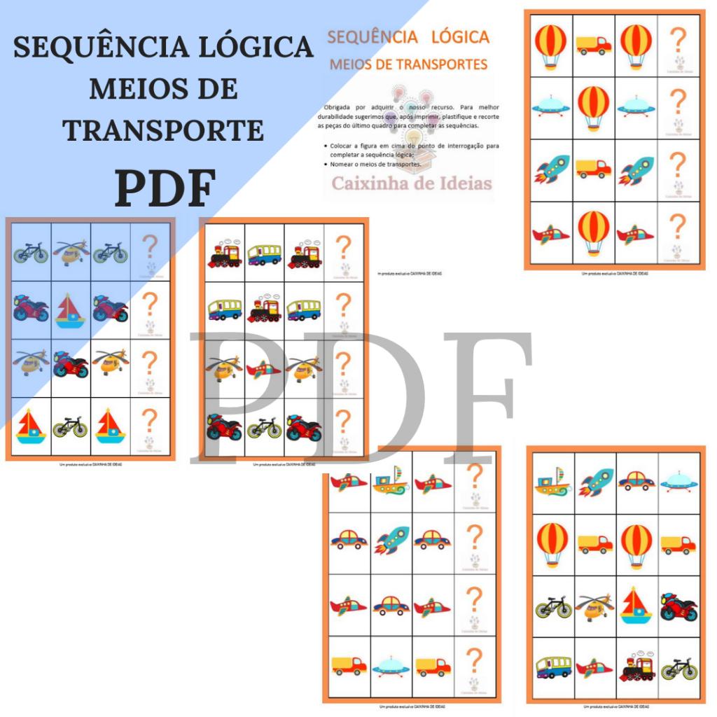 Sequencia Logica Meios De Transporte Carolina Burd Psicopedagoga